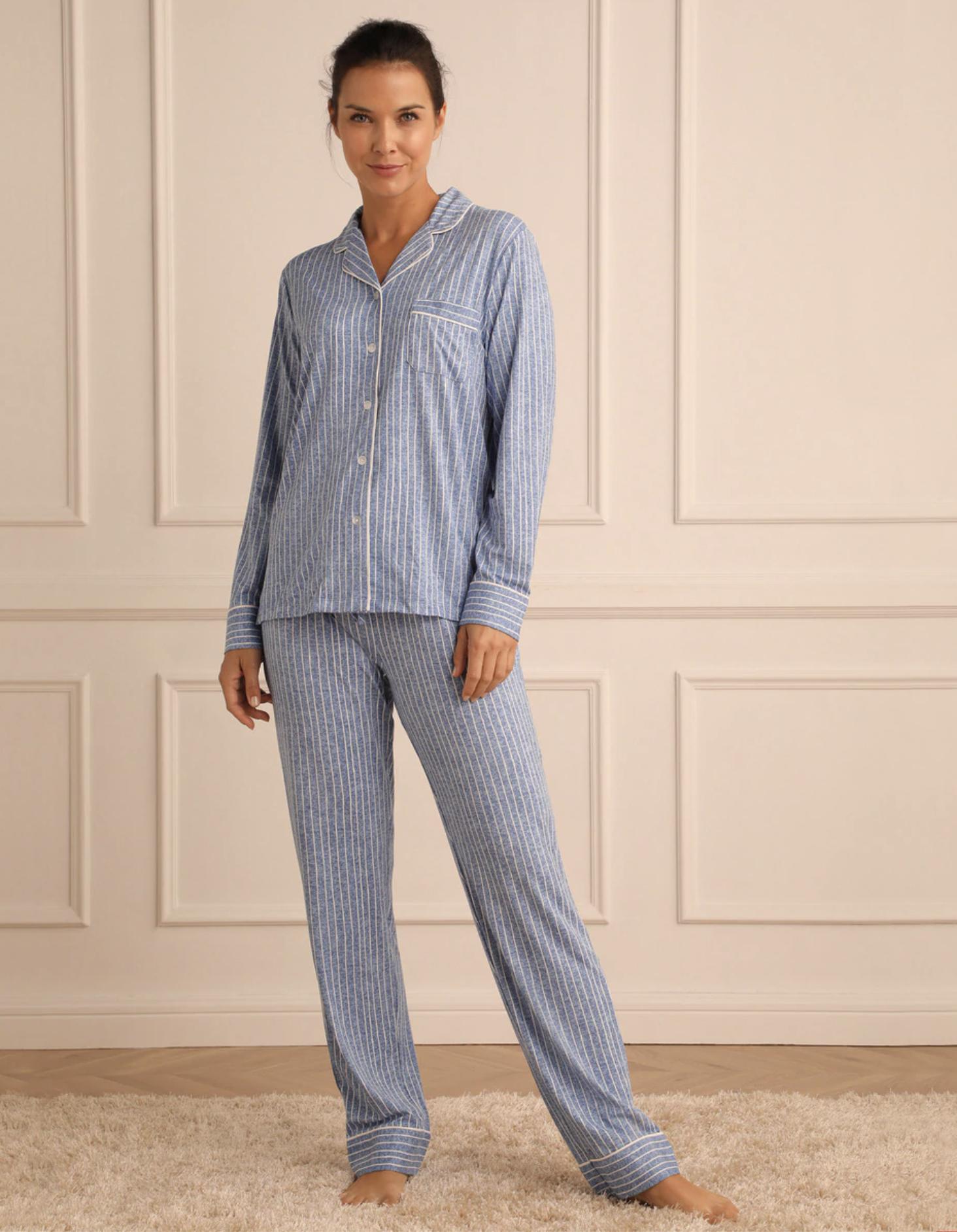 Pijama camisero de mujer rayas