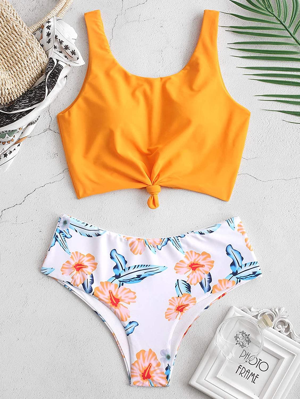 Tankini con encaje floral y hojas tropicales, con nudos, talle alto, dos piezas