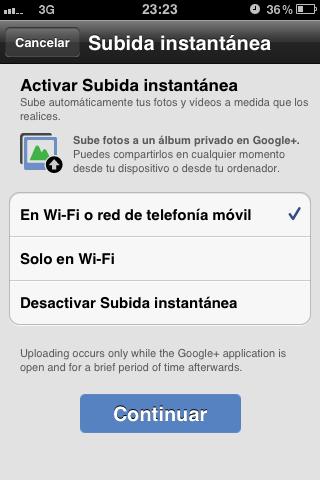 La subida instantánea de imágenes, principal novedad en la actualización de Google+ para iOS