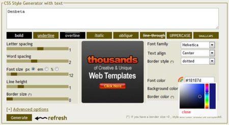 CSSTXT, editor visual de estilos de texto CSS