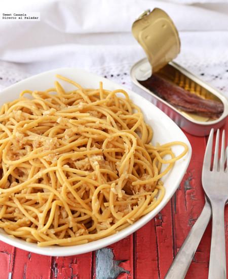 Spaghetti con salsa de anchoas. Receta