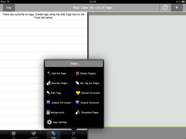 Opciones de Note Taker HD