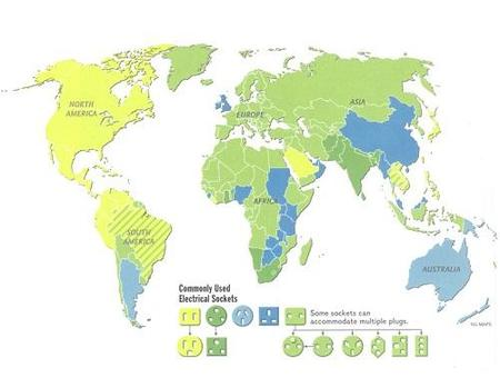 Mapa con los enchufes y tomas de corriente del mundo