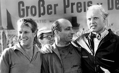 Juan Manuel Fangio, Mike Hawthorn, Peter Collins 1957
