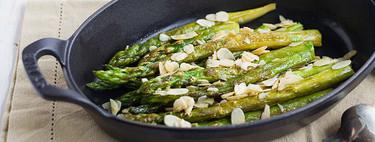 Receta de espárragos verdes con almendras tostadas