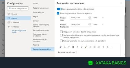Cómo configurar las respuestas automáticas de Outlook