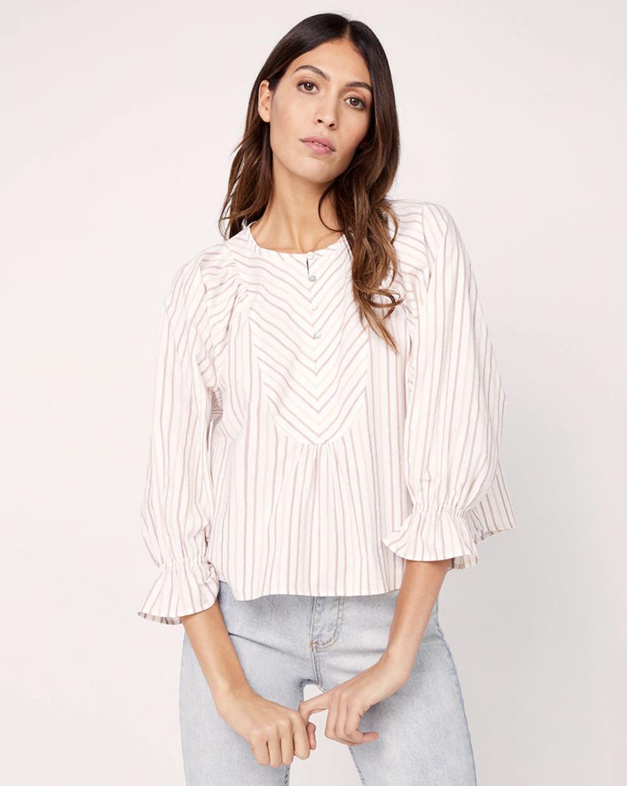 Blusa de mujer con estampado de rayas y corte en campana
