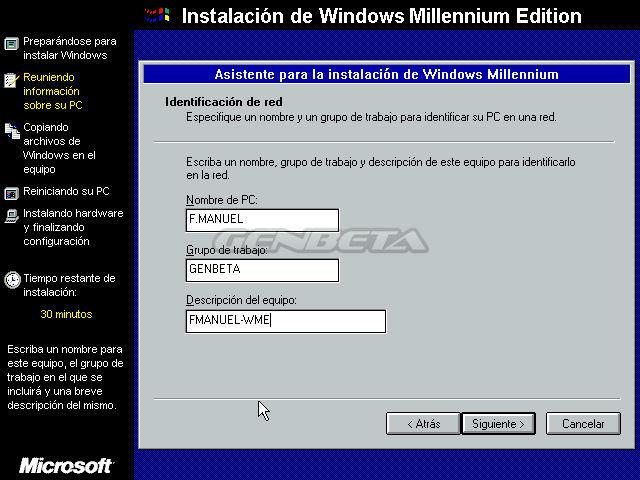 Foto de programa de instalación de Windows ME (3/4)