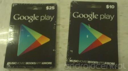 Tarjetas regalo de Google Play: primeras imágenes