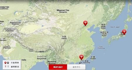 Mapa de Tesla en China