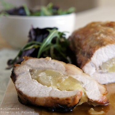 Lomo de cerdo al horno relleno de pera y cebolla confitada: receta fácil para aprovechar fruta