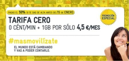 Ofertón, MÁSMÓVIL ofrece la Tarifa Cero con 1 GB de datos a mitad de precio