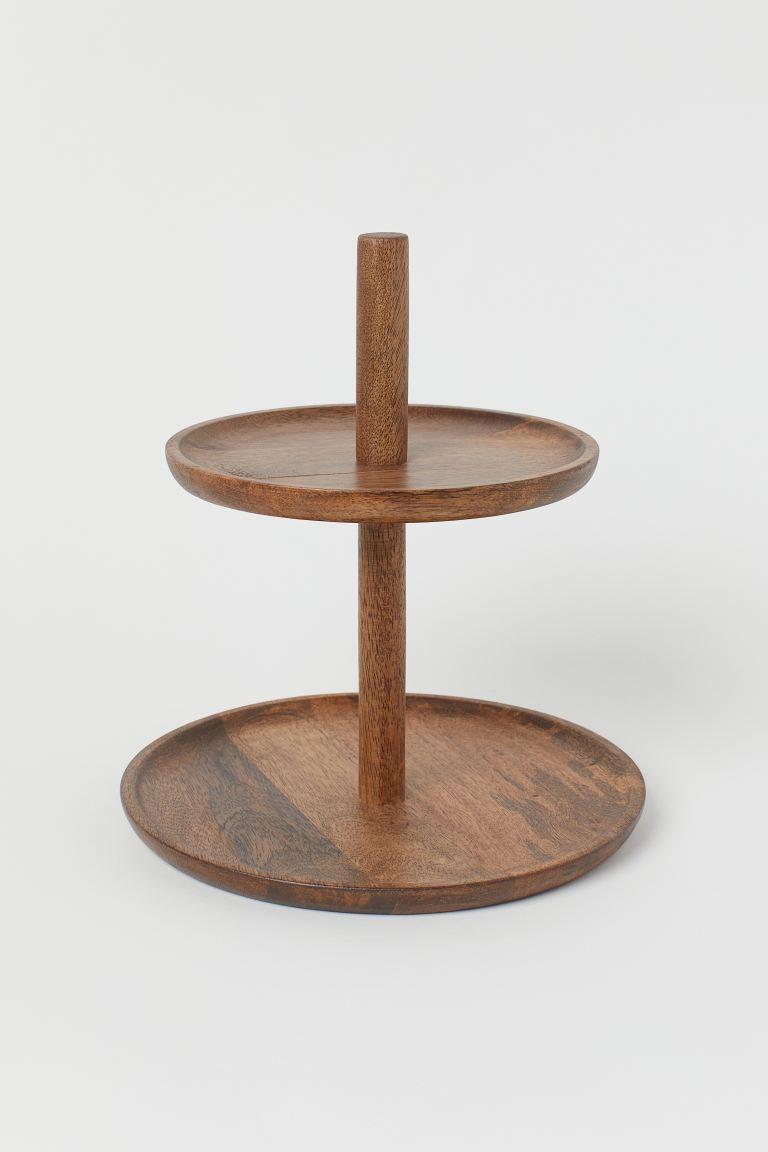 Bandeja de dos pisos en madera  diámetro inferior 23 cm, alto 25 cm