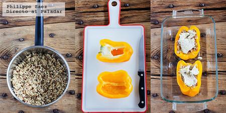 Pimientos rellenos de quinoa y mozzarella. Receta fácil con solo tres ingredientes