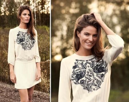 vestido blusa bordado hm
