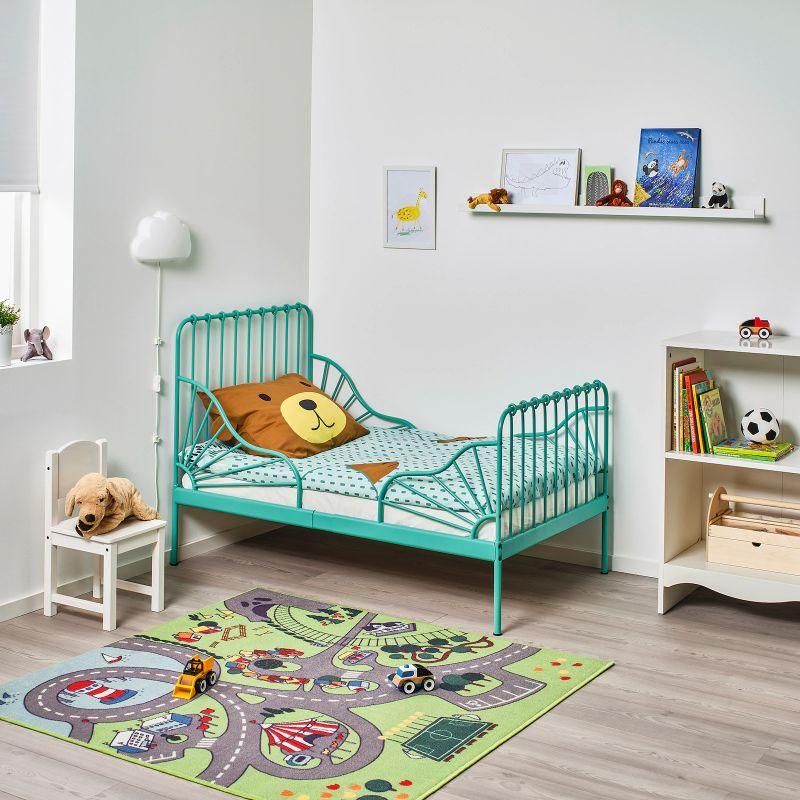 Estruc cama extens+somier láminas, turquesa80x200 cm