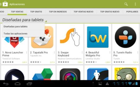 Las tablets Android ahora mostrarán por default las aplicaciones optimizadas para éstas