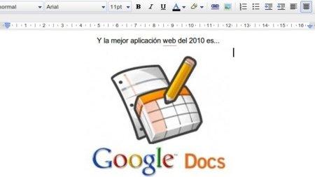 Google Docs, mejor aplicación web del 2010