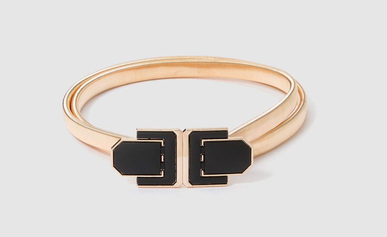Cinturón de fiesta de mujer El Corte Inglés de metal dorado con broche negro