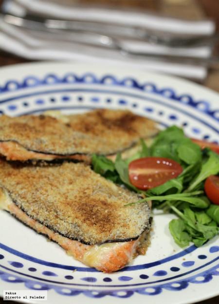 San Jacobos de berenjena y salmón fresco hechos en el horno: receta fácil y ligera