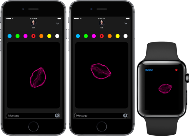 Ios diez Messages Digital Touch Kisses Space Gray Iphone Apple™ Watch Screnshot 001