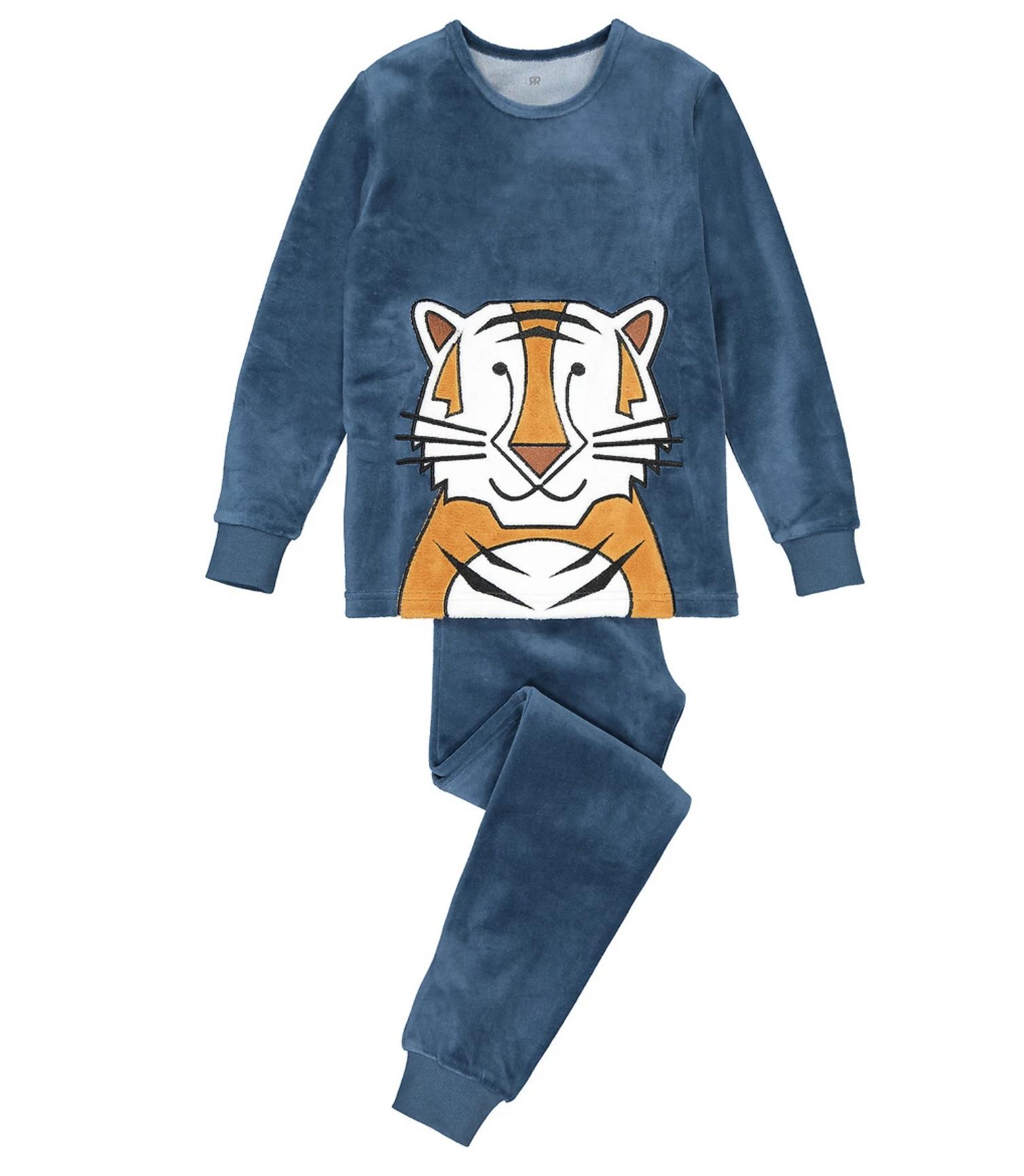 Pijama de terciopelo con motivo de tigre