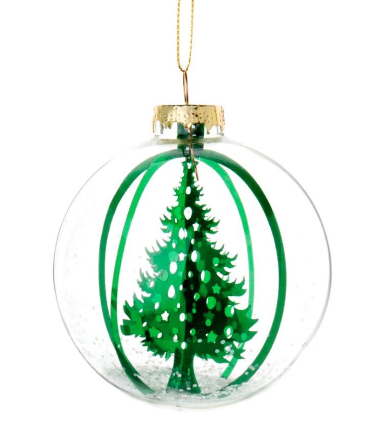 Bola de Navidad de cristal con decoración de abeto verde (lote de 6 piezas)