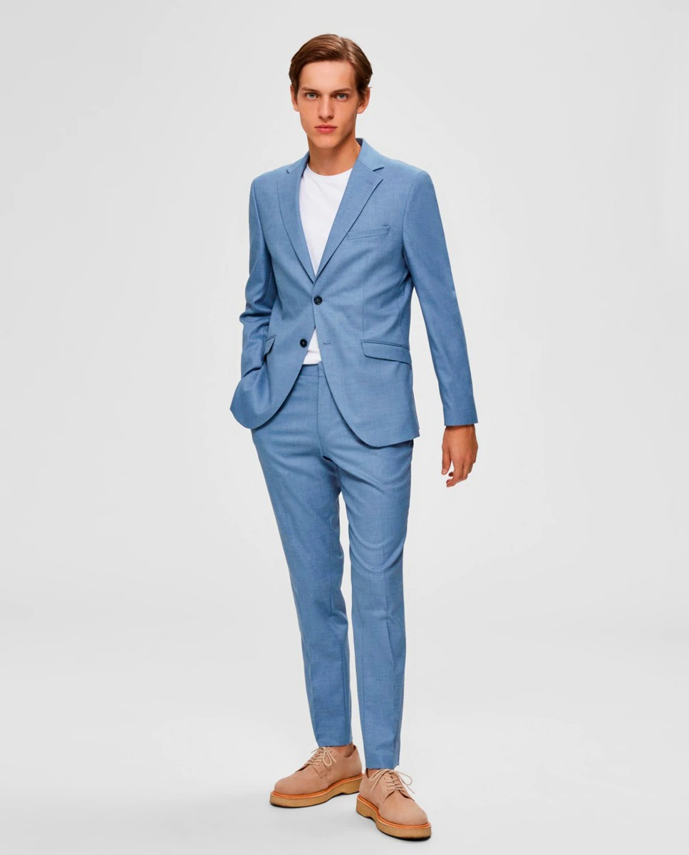 Chaqueta de traje de hombre slim azul claro