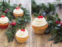 Cupcakes de limón con cobertura ligera de queso. Receta de navidad