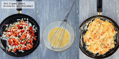 Cuernitos de huevo revuelto a la mexicana. Receta fácil de desayuno