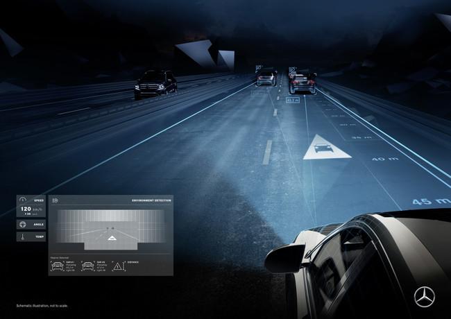 Luces LED como HUD en la carretera