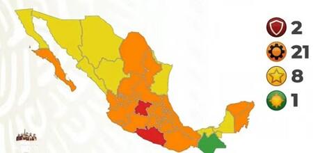 Solo quedan dos estados en semáforo en rojo por COVID, y Chiapas vuelve al semáforo verde: así la epidemia en México