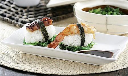 Receta de niguiri de pulpo y gambón teriyaki