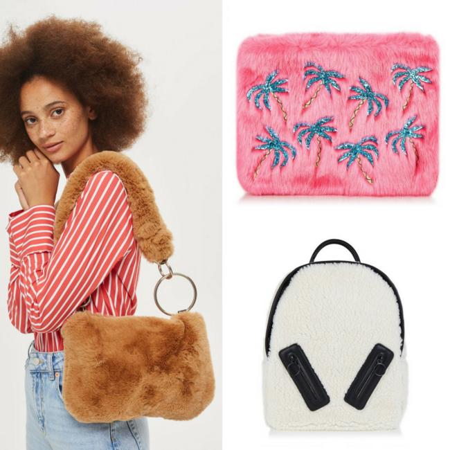 bolsos peluche pelo mochilas tendencias otoño shopping