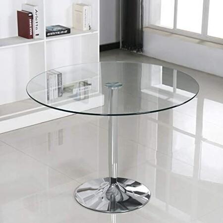 Mesa redonda de cristal