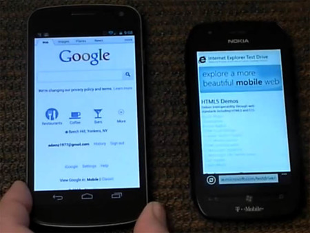 Comparativa de navegación web: Android 4.0 Ice Cream Sandwich vs. Windows Phone Mango [en vídeo]