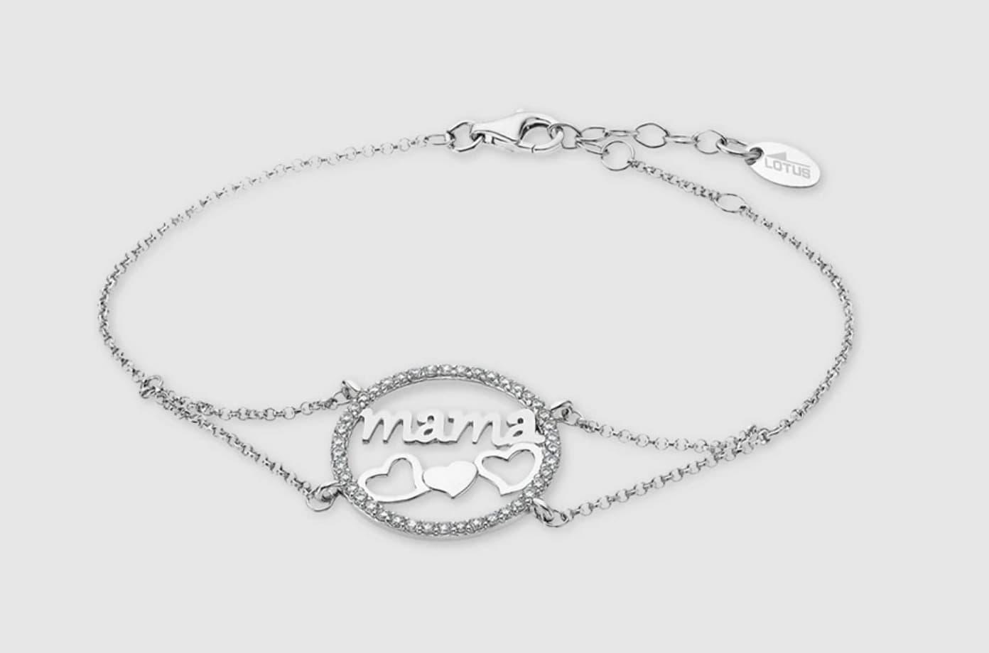 Pulsera Mamá con cadena en plata de ley 925 milésimas corazones con circonitas