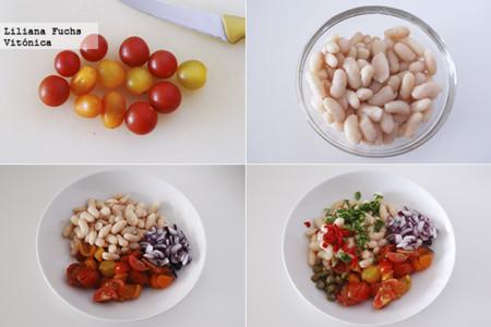 Ensalada Alubias Tomates Pasos