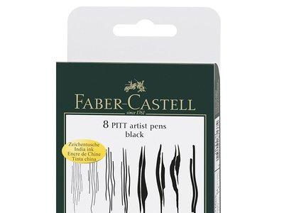 Por 12,92 euros puedes hacerte con este set de 8 rotuladores artísticos de color negro Faber-Castell Pitt en Amazon