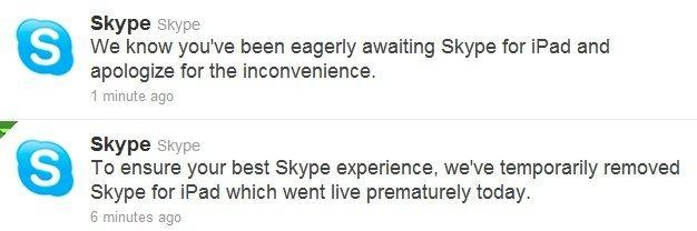 """Skype lanza su aplicación oficial para iPad... y la retira poco después por haber aparecido """"prematuramente"""""""