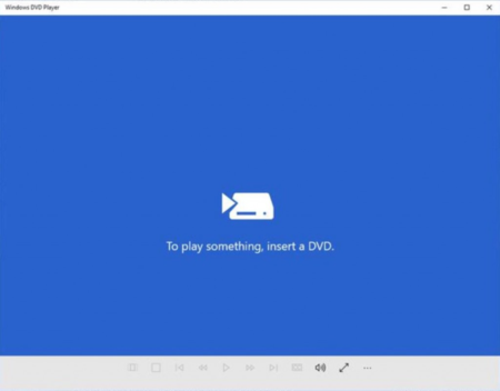 Este es el reproductor DVD que Windows 10 ofrece a los usuarios de Windows Media Center