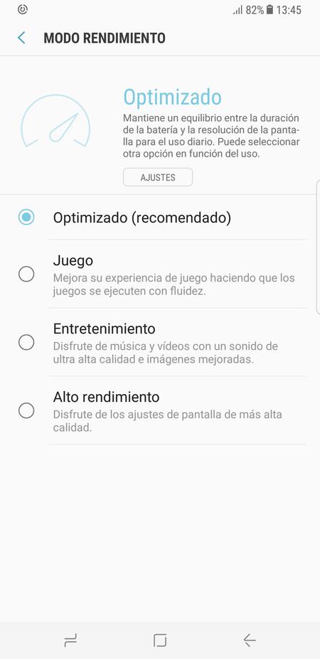 Modos de rendimiento Samsung Galaxy S8