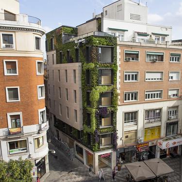 Un jardín vertical de Ignacio Solano adorna la calle Montera de Madrid
