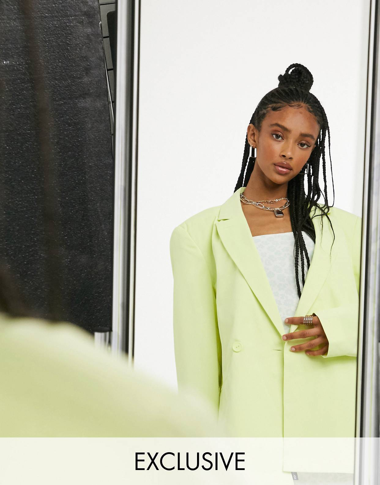 COLLUSION Unisex oversized blazer & wide leg trousers in pastel lime