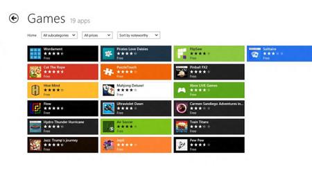 Categorías en Windows Store