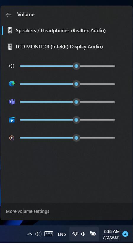 Mezclador De Volumen Centro De Actividades Windows 11