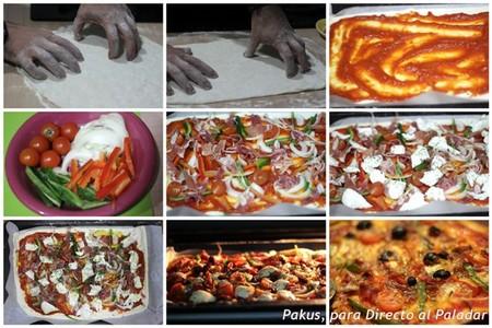 pizza rústica de jamón con verduras y pasas procedimiento