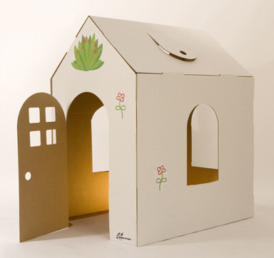 Casitas de cartón reciclado para decorar