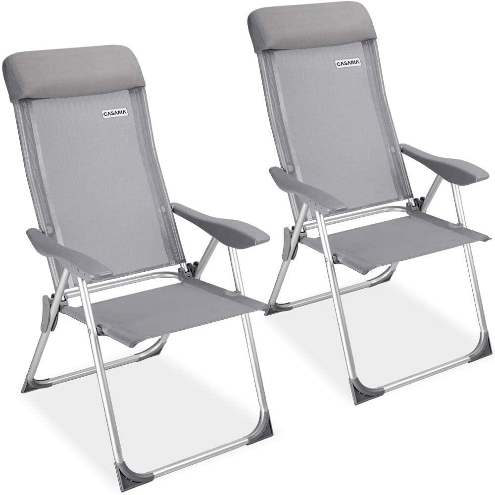 Casaria Set de 2 sillas Plegables de Aluminio con Respaldo Alto reclinable Transpirable para jardín balcón terraza Exterior