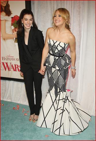 Anne Hathaway y Kate Hudson en el estreno de Bride Wars en Nueva York